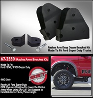 "2005-2015 FORD F250/350 4WD RADIUS ARM BRACKETS AND 1.5"" LIFT LOWER SPRING SPACER -- 67-2550"