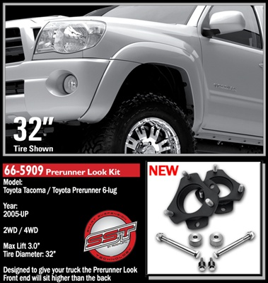 "2005-2012 Toyota Tacoma 2WD/4WD 6 Lug PreRunner Look 2.75""-3.0"" Front Lift Kit -- 66-5909"