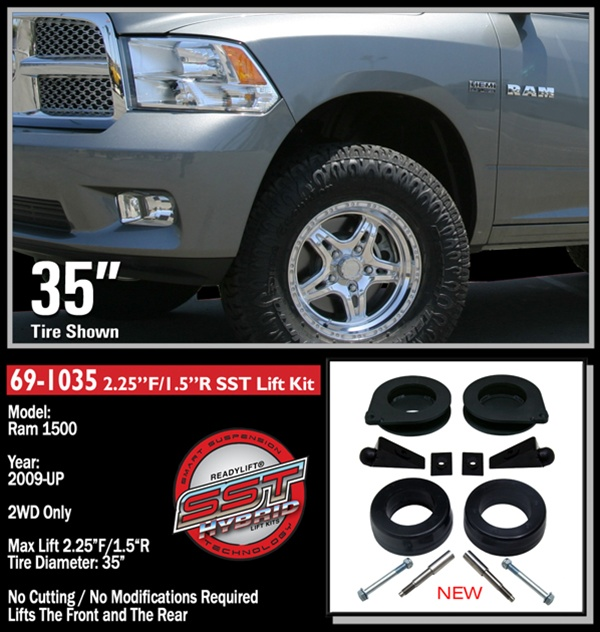 "Ram 1500 Parts >> 2009-2011 Dodge Ram 1500 2WD Front 2.25"", Rear 1.5"" Inch Lift Kit -- 69-1035"