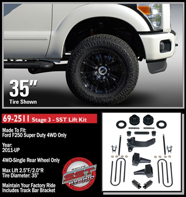"2011-2016 Ford F250 4WD Stage 3 2.5"" Front, 2.0"" Rear SST Lift Kit -- 69-2511"