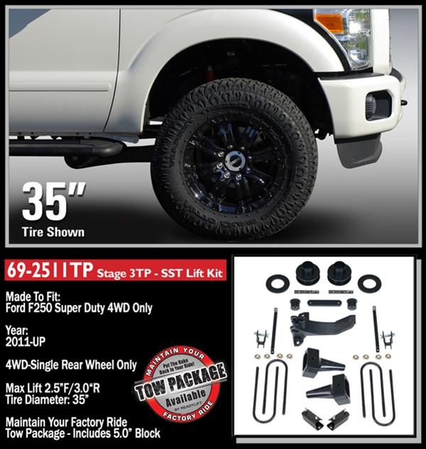 "Ford F250 Lift Kits >> 2011-2016 Ford F250/F350 4WD Stage 3 2.5"" Front, 3.0"" Rear (1.0"" Rear on F350) SST Lift Kit ..."